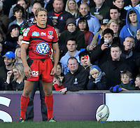 Cardiff, Wales. Jonny Wilkinson of Toulon prepares for a penalty during the Heineken Cup Match between Cardiff Blues and Toulon at The Arms Park on October 21, 2012 in Cardiff, Wales