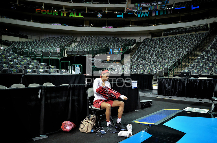 Dallas, TX - Friday March 31, 2017: Briana Roberson prior to the NCAA National Semifinal Game between the women's basketball teams of Stanford and South Carolina at the American Airlines Center.