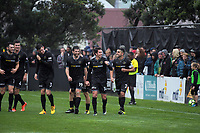 Team Wellington players celebrate Team Wellington's Jack-Henry Sinclair's goal during the Oceania Football Championship final (first leg) football match between Team Wellington and Lautoka FC at David Farrington Park in Wellington, New Zealand on Sunday, 13 May 2018. Photo: Dave Lintott / lintottphoto.co.nz