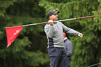 Darren Fichardt (RSA) feels like throwing the pin away after his chip onto the 15th green during Sunday's fog delayed Round 3 of the 2017 Omega European Masters held at Golf Club Crans-Sur-Sierre, Crans Montana, Switzerland. 10th September 2017.<br /> Picture: Eoin Clarke | Golffile<br /> <br /> <br /> All photos usage must carry mandatory copyright credit (&copy; Golffile | Eoin Clarke)