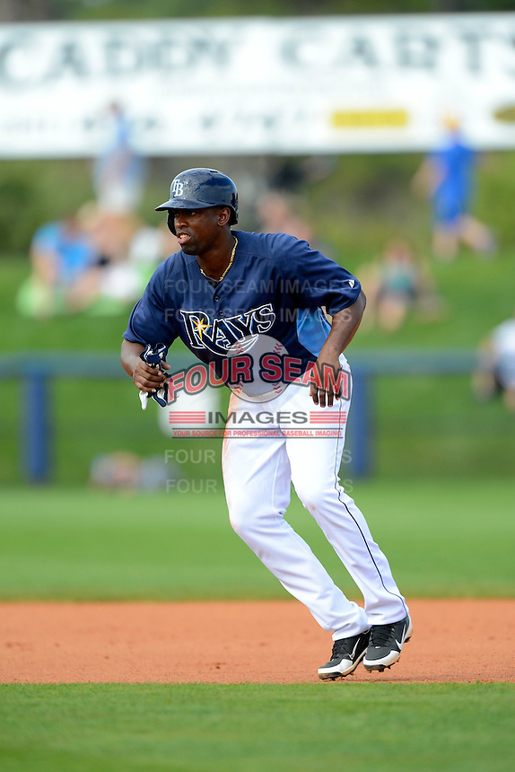 Tampa Bay Rays outfielder Leslie Anderson #86 during a Grapefruit League Spring Training game against the Boston Red Sox at Charlotte County Sports Park on February 25, 2013 in Port Charlotte, Florida.  Tampa Bay defeated Boston 6-3.  (Mike Janes/Four Seam Images)