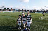 Ryan Smid of Ealing Trailfinders poses with mascots during the Championship Cup Quarter Final match between Ealing Trailfinders and Nottingham Rugby at Castle Bar , West Ealing , England  on 2 February 2019. Photo by Carlton Myrie / PRiME Media Images.