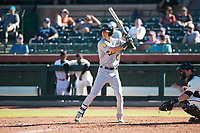 Mesa Solar Sox right fielder Skye Bolt (10), of the Oakland Athletics organization, at bat during an Arizona Fall League game against the Scottsdale Scorpions at Scottsdale Stadium on November 2, 2018 in Scottsdale, Arizona. The shortened seven-inning game ended in a 1-1 tie. (Zachary Lucy/Four Seam Images)