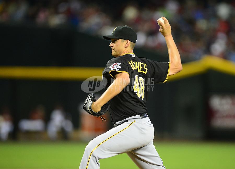 Apr. 17, 2012; Phoenix, AZ, USA; Pittsburgh Pirates pitcher Jared Hughes throws in the second inning against the Arizona Diamondbacks at Chase Field. Mandatory Credit: Mark J. Rebilas-