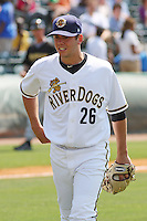 RHP Graham Stoneburner #26 of the Charleston RiverDogs walking off the mound during a game against the West Virginia Power on April 14, 2010  in Charleston, SC.