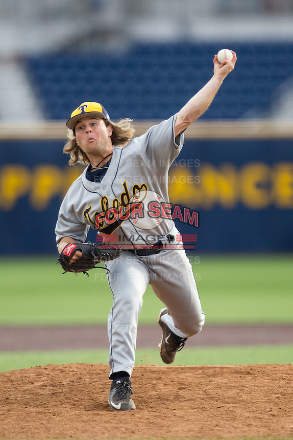 Toledo Rockets pitcher Jacob Michael (33) delivers a pitch to the plate against the Michigan Wolverines on April 20, 2016 at Ray Fisher Stadium in Ann Arbor, Michigan. Michigan defeated Bowling Green 2-1. (Andrew Woolley/Four Seam Images)