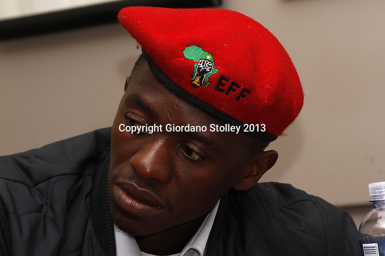 DURBAN - 14 August 2013 - Jackie Shandu, the Economic Freedom Fighters political party's coordinator in the September National Imbizomovement at the party's first press briefing in KwaZulu-Natal. He is no relation to South Africa's national police minister. EFF was founded by expelled ANC Youth League president Julius Malema. Its key policies include expropriation of land without compensation and the nationalisation of mines and banks among others. Picture: Giordano Stolley
