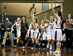 SIOUX FALLS, SD - MARCH 19: Ashland University celebrates a three pointer near the end of their game against Montana St. University Billings in their quarterfinal game at the 2018 Elite Eight Women's NCAA DII Basketball Championship at the Sanford Pentagon in Sioux Falls, SD. Ashland won 91-73. (Photo by Dave Eggen/Inertia)