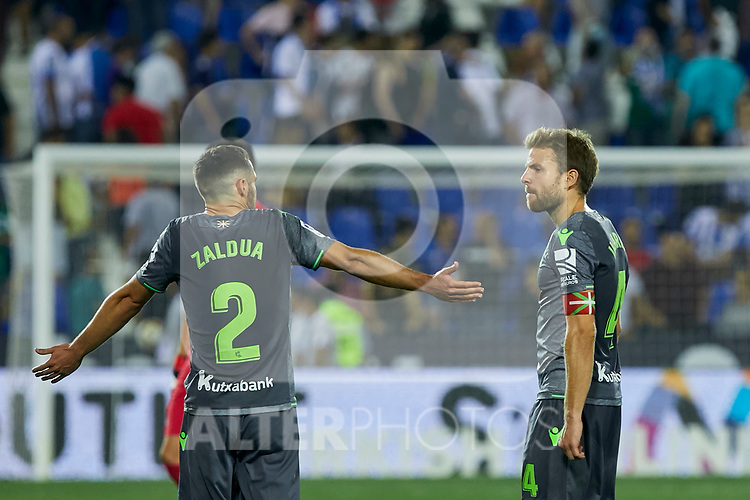 Real Sociedad's Joseba Zaldua (l) and Asier Illarramendi (r) during La Liga match. August 24, 2018. (ALTERPHOTOS/A. Perez Meca)
