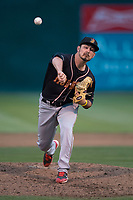Modesto Nuts relief pitcher Austin Hutchison (19) delivers a pitch during a California League game against the San Jose Giants at San Jose Municipal Stadium on May 15, 2018 in San Jose, California. Modesto defeated San Jose 7-5. (Zachary Lucy/Four Seam Images)