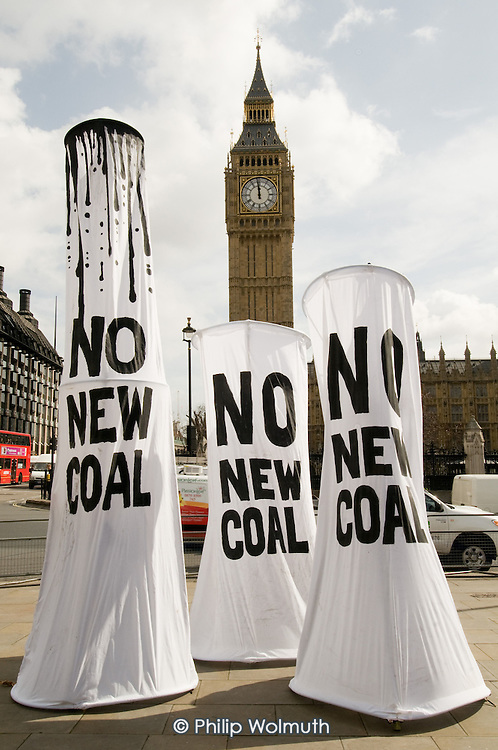 People & Planet protest outside Parliament against a proposal to build a coal-fired power station in Kingsnorth, Kent.