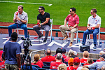 22 September 2018: Members of the Washington Nationals radio and television broadcast media answer question from the fans on Season Ticket-Holder Appreciation Day, prior to a game against the New York Mets at Nationals Park in Washington, DC. Pictured (left to right) are Bob Carpenter, F.P. Santangelo (Television), Charlie Slowes and Dave Jageler (Radio). The Nationals shut out the Mets 6-0 in the 3rd game of their 4-game series. Mandatory Credit: Ed Wolfstein Photo *** RAW (NEF) Image File Available ***