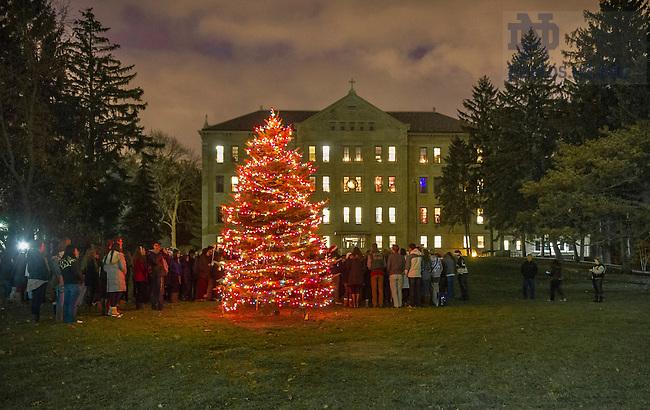 Dec 6, 2013; Christmas tree lighting celebration at Carroll Hall. Photo by Barbara Johnston/University Photographer