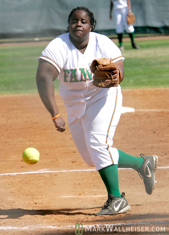 Florida A&M Rattlers' Ashley James pitches in their softball game against Georgia Southern in Tallahassee April 19, 2007.  (Mark Wallheiser/TallahasseeStock.com)