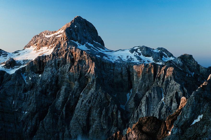 Mount Triglav at sunrise<br /> Julian Alps<br /> Triglav National Park, Slovenia<br /> July 2009