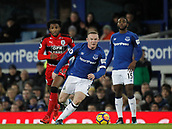 2nd December 2017, Goodison Park, Liverpool, England; EPL Premier League football, Everton versus Huddersfield Town; Wayne Rooney of Everton runs through midfield with Kasey Palmer in pursuit