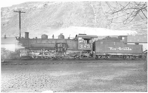 Fireman side view of K-36 #483 at Durango.<br /> D&amp;RGW  Durango, CO  Taken by Payne, Andy M. - 4/10/1960