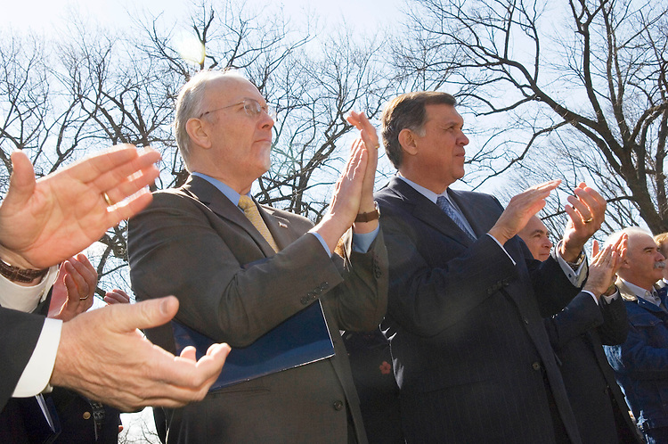 "03/15/06.FARMERS RALLY/IMMIGRATION--Sen. Larry E. Craig, R-Idaho, Sen. Mel Martinez, R-Fla., and others during a rally of farmers in the Russell Park urging Congress to ""Pass an immigration fix in '06."".CONGRESSIONAL QUARTERLY PHOTO BY SCOTT J. FERRELL"