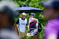 Jenny Shin (KOR) watches her tee shot on 1 during Sunday's final round of the 72nd U.S. Women's Open Championship, at Trump National Golf Club, Bedminster, New Jersey. 7/16/2017.<br /> Picture: Golffile | Ken Murray<br /> <br /> <br /> All photo usage must carry mandatory copyright credit (&copy; Golffile | Ken Murray)