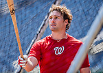 14 April 2018: Washington Nationals second baseman Daniel Murphy (currently on the disabled list) takes batting practice prior to a game against the Colorado Rockies at Nationals Park in Washington, DC. The Nationals rallied to defeat the Rockies 6-2 in the 3rd game of their 4-game series. Mandatory Credit: Ed Wolfstein Photo *** RAW (NEF) Image File Available ***