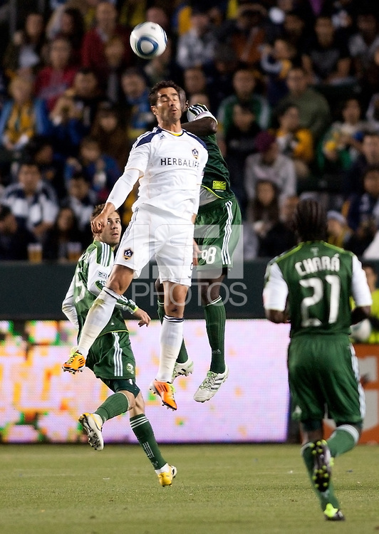LA Galaxy forward Juan Pablo Angel (9) head ball. The LA Galaxy defeated the Portland Timbers 3-0 at Home Depot Center stadium in Carson, California on  April  23, 2011....