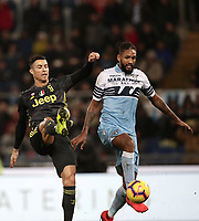 Football, Serie A: S.S. Lazio - Juventus, Olympic stadium, Rome, January 27, 2019. <br /> Juventus' Cristiano Ronaldo (l) in action with Lazio's Lazio's Fortuna Wallace Dos Santosl (r) during the Italian Serie A football match between S.S. Lazio and Juventus at Rome's Olympic stadium, Rome on January 27, 2019.<br /> UPDATE IMAGES PRESS/Isabella Bonotto
