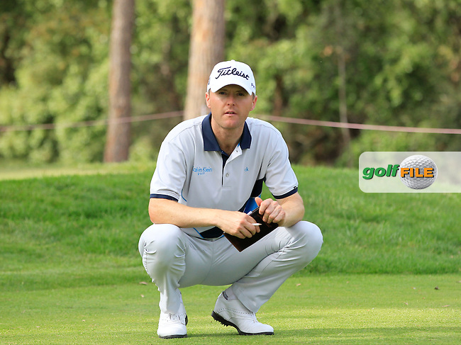Michael Hoey (NIR) on the 18th tee during the Pro-Am of the Open de Espana  in Club de Golf el Prat, Barcelona on Wednesday 13th May 2015.<br /> Picture:  Thos Caffrey / www.golffile.ie