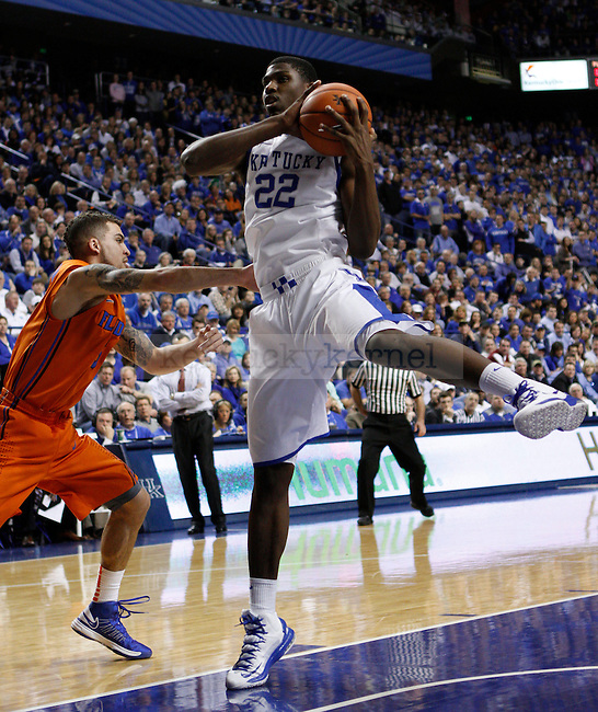 UK's Alex Poythress snags an defensive rebound for the Cats. in Lexington, Ky., on Sunday, March, 10, 2013. Photo by James Holt | Staff