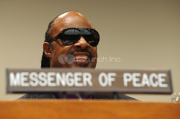 Stevie Wonder named United Nations Messenger of Peace at The United Nations in New York City. December 3, 2009. Credit: Dennis Van Tine/MediaPunch