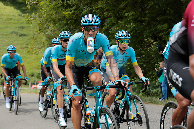 The peloton including Omar Fraile (ESP) Astana climb the 1st Col during Stage 3 of the Route d'Occitanie 2020, running 163.5km from Saint-Gaudens to Col de Beyrède, France. 3rd August 2020. <br /> Picture: Colin Flockton   Cyclefile<br /> <br /> All photos usage must carry mandatory copyright credit (© Cyclefile   Colin Flockton)