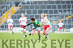 Lorraine Scanlon Kerry grabs the loose ball against Tyrone captain Neamh Woods during their NFL clash against Tyrone on Sunday in Fitzgerald Stadium