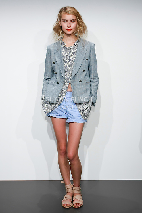 Model poses in a J. Crew Spring 2011 women's outfit by Marissa Webb, during the J. Crew Spring 2011 Collection Presentation.