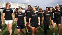 Cary, North Carolina  - Saturday June 17, 2017: NC Courage players (from left) Samantha Mewis, Darian Jenkins, McCall Zerboni, Abby Erceg, Kristen Hamilton, Lynn Williams, Taylor Smith, Stephanie Ochs, and Abby Dahlkemper wear Nike Equality BeTrue Tees before a regular season National Women's Soccer League (NWSL) match between the North Carolina Courage and the Boston Breakers at Sahlen's Stadium at WakeMed Soccer Park. The Courage won the game 3-1.