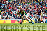 Stephen O'Brien Kerry in action against Declan Kyne Galway in the All Ireland Senior Football Quarter Final at Croke Park on Sunday.
