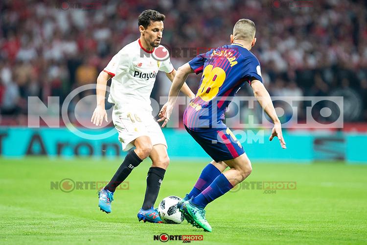Sevilla FC Jesus Navas and FC Barcelona Jordi Alba during King's Cup Finals match between Sevilla FC and FC Barcelona at Wanda Metropolitano in Madrid, Spain. April 21, 2018. (ALTERPHOTOS/Borja B.Hojas)