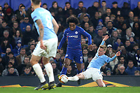 Anders Christiansen of Malmo FF tackles Chelsea's Willian during Chelsea vs Malmo FF, UEFA Europa League Football at Stamford Bridge on 21st February 2019