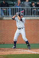 Esteban Puerta (9) of the Florida Atlantic Owls at bat against the Charlotte 49ers at Hayes Stadium on March 14, 2015 in Charlotte, North Carolina.  The Owls defeated the 49ers 8-3 in game one of a double header.  (Brian Westerholt/Four Seam Images)