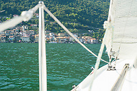 Sailing past Gandria on Lake Lugano, Ticino, Switzerland, july 2013.