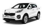 2016 KIA Sportage Sense 5 Door Suv Angular Front stock photos of front three quarter view
