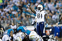 December 05, 2011:   San Diego Chargers tight end Randy McMichael (81) signals a first down during first half action between the Jacksonville Jaguars and the San Diego Chargers played at EverBank Field in Jacksonville, Florida.  ........