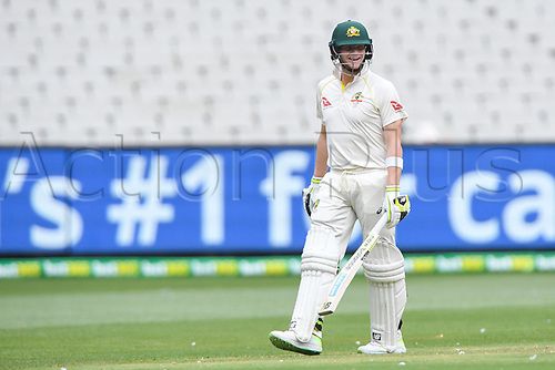 30th December 2017, Melbourne Cricket Ground, Melbourne, Australia; The Ashes Series, fourth test, day 5, Australia versus England; Steve Smith of Australia laughs during the closing day of the boxing day test