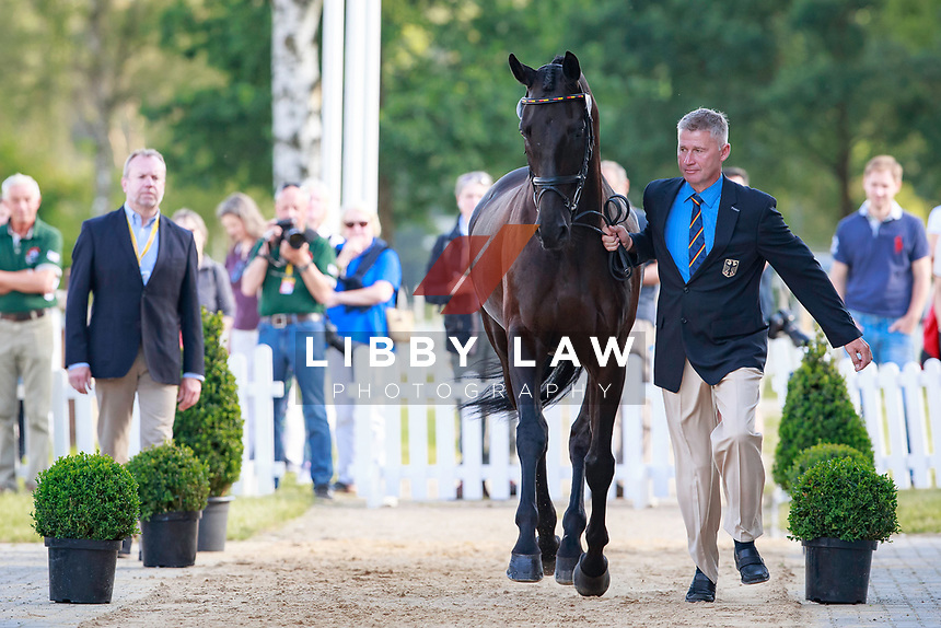 GER-Andreas Dibowski with FRH Butts Avedon during the 1st Horse Inspection, CCI4* presented by DHL , at the 2017 Luhmühlen International Horse Trial. Wednesday 14 June. Copyright Photo: Libby Law Photography