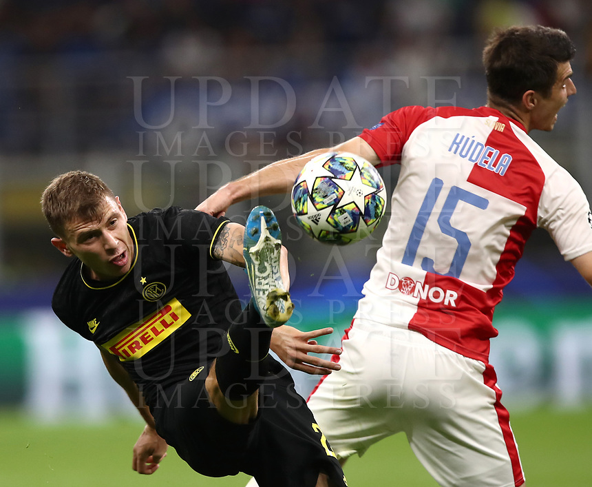Football Soccer: UEFA Champions League -Group Stage- Group F Internazionale Milano vs  SK Slavia Praha, Giuseppe Meazza stadium, September 17, 2019.<br /> Inter's Nicolò Barella (l) in action with  Slavia Praha's  Ondrej Kudela (r) during the Uefa Champions League football match between Internazionale Milano and Slavia Praha at Giuseppe Meazza (San Siro) stadium, September 17, 2019.<br /> UPDATE IMAGES PRESS/Isabella Bonotto