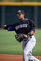 Colorado Rockies Jonathan Piron (3) during practice before an instructional league game against the SK Wyverns on October 10, 2015 at the Salt River Fields at Talking Stick in Scottsdale, Arizona.  (Mike Janes/Four Seam Images)