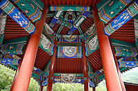 Columns on a pavilion, Great Wall, Juyongguan Gate, near Badaling, Beijing, China.