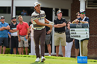 Rickie Fowler (USA) watches his tee shot on 17 during round 1 of the 2019 Charles Schwab Challenge, Colonial Country Club, Ft. Worth, Texas,  USA. 5/23/2019.<br /> Picture: Golffile | Ken Murray<br /> <br /> All photo usage must carry mandatory copyright credit (© Golffile | Ken Murray)