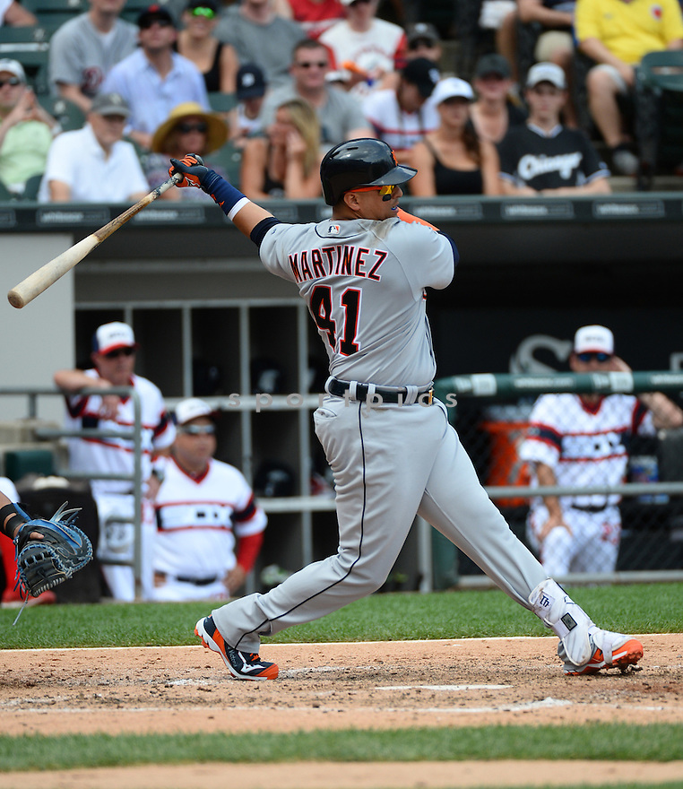 Detroit Tigers Victor Martinez (41) during a game against the Chicago White Sox on July 24, 2016 at US Cellular Field in Chicago, IL. The White Sox beat the Tigers 5-4.