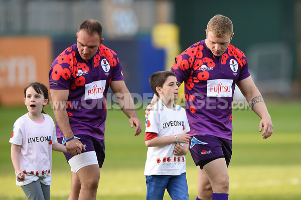 UK Armed Forces players, mascots in hand, look on prior to kick off. Remembrance Rugby match, between Bath United and the UK Armed Forces on May 10, 2017 at the Recreation Ground in Bath, England. Photo by: Patrick Khachfe / Onside Images