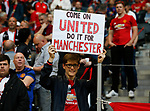 Manchester United fan holds up a banner during the UEFA Europa League Final match at the Friends Arena, Stockholm. Picture date: May 24th, 2017.Picture credit should read: Matt McNulty/Sportimage