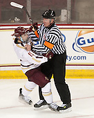 Cam Spiro (BC - 15), Kevin Keenan - The Boston College Eagles defeated the visiting St. Francis Xavier University X-Men 8-2 in an exhibition game on Sunday, October 6, 2013, at Kelley Rink in Conte Forum in Chestnut Hill, Massachusetts.
